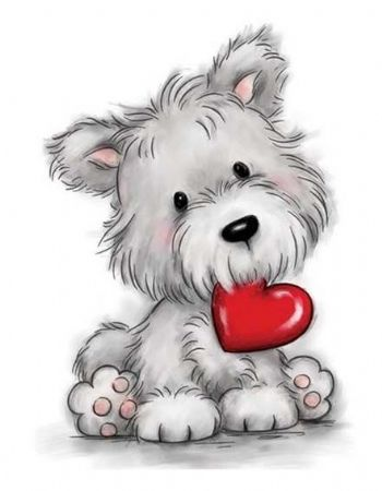 Dog With a Love Heart Unmounted Clear Rubber Stamp From Wild Rose Studio